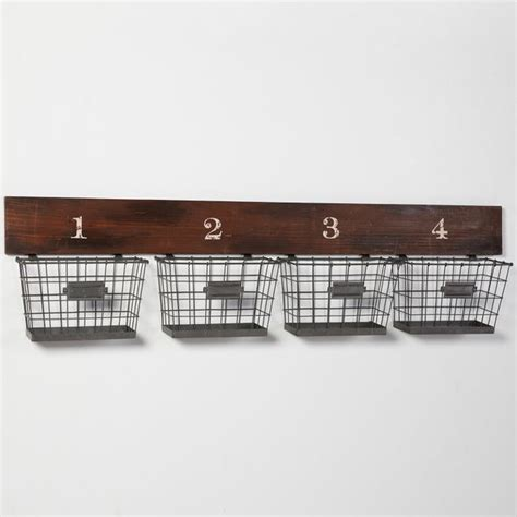 wall shelves with baskets wood and wire wall multi basket eclectic storage and organization by pbteen