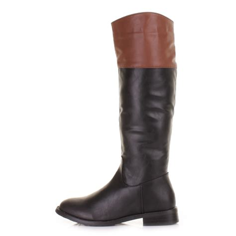 womens knee high black leather style cuff flat
