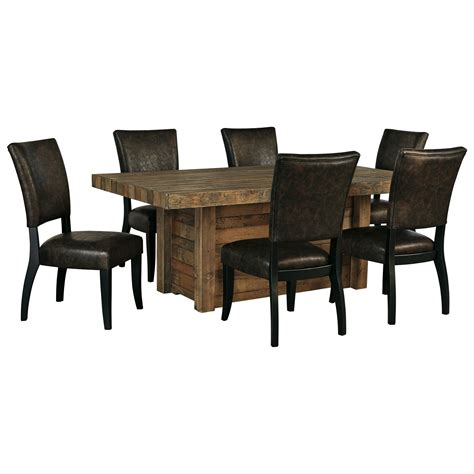 signature design sommerford 7 rectangular dining room table set dunk bright