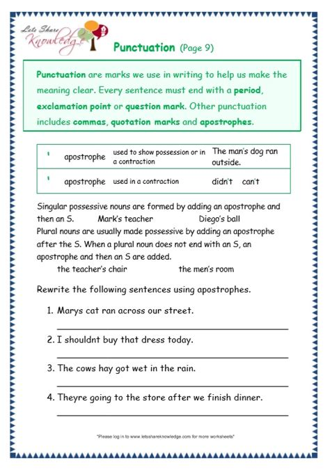 punctuation worksheets grade 4 with answers punctuation exercises for grade 3 quotation marks quiz punctuation worksheets