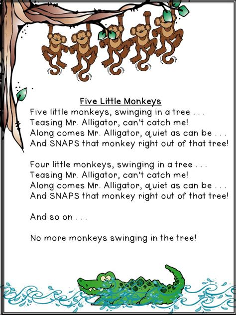 5 little monkeys swinging tree song transition trick kinderland collaborative pinterest