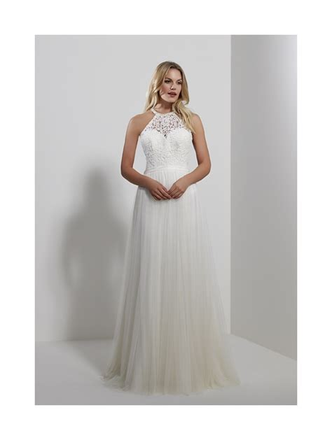 Halter Neck Wedding Dress by Romantica Sicily Halter Neck Tulle Wedding Dress Ivory