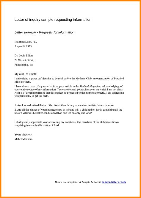 Bank Enquiry Letter Format letter of inquiry sle sle of letter of inquiry 28 images