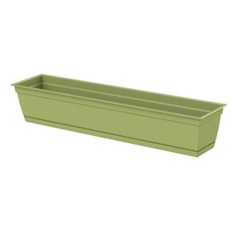 home depot window boxes dayton 36 in x 6 7 in green plastic window box of