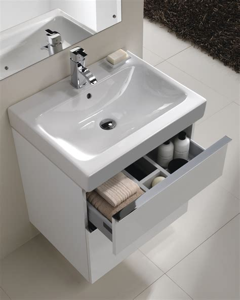 twyford 3d 600mm basin and alpine white 2 drawer vanity