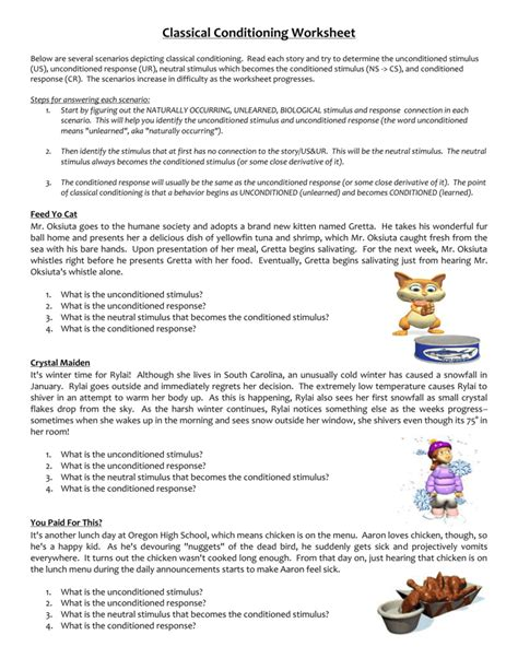 Classical Conditioning Worksheet Answers by Uncategorized Classical Conditioning Worksheet