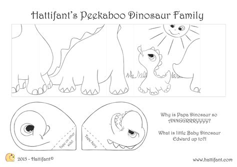 endless card template pdf hattifant s peekaboo dinosaur family hattifant