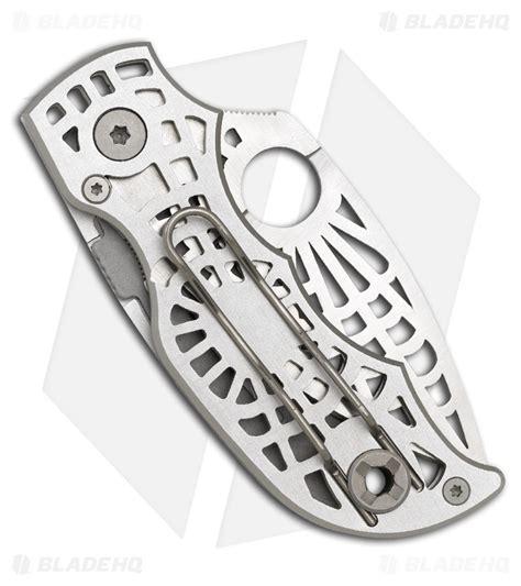 spyderco s spyderco quot s quot silver folding knife satin plain c109slp