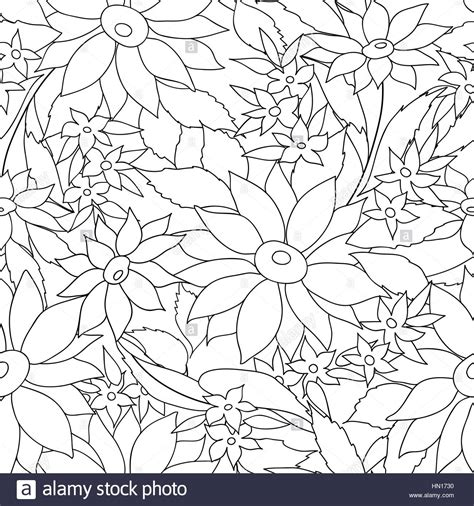 floral seamless outline pattern flower engraving