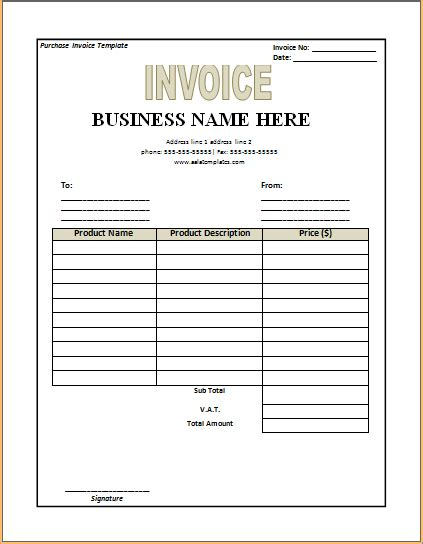 purchase invoice template purchase invoice template excel word templates