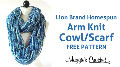 how to knit a scarf left handed arm knit cowl infinity scarf with brand homespun yarn