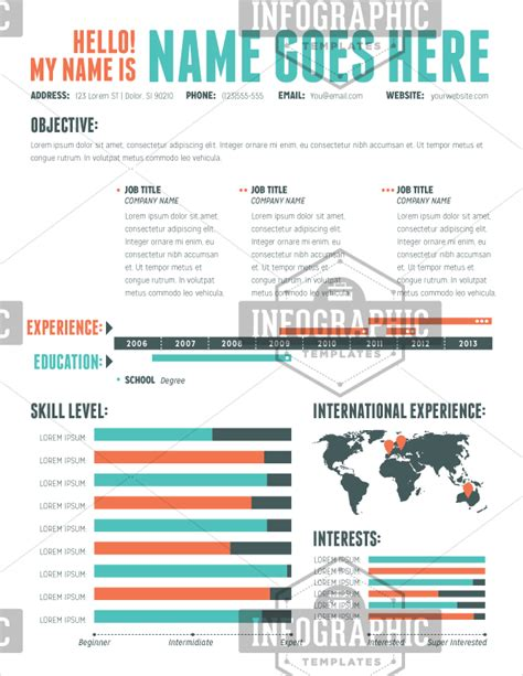 Simple One Page Resume Sample by Infographic Resume Template Clean Amp Professional