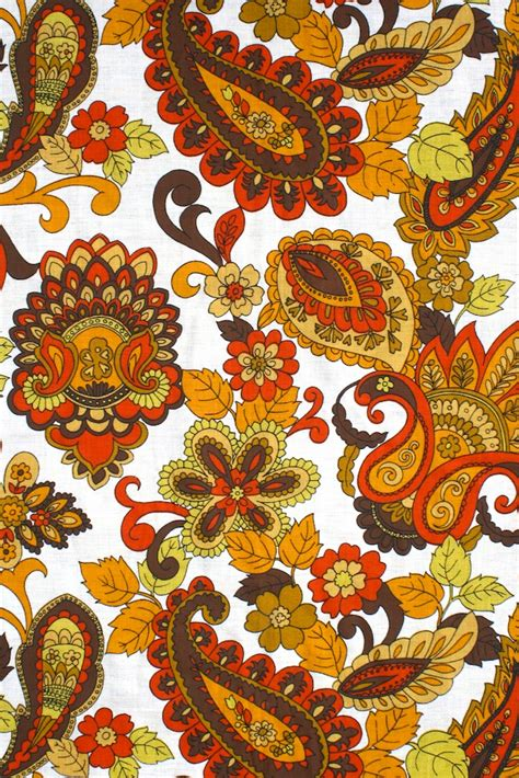 Retro Fabric by 1970s Paisley Vintage Retro Fabric