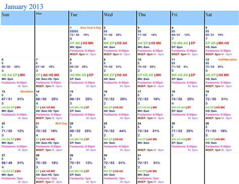 Disney Attendance Calendar Inaccurate January 2013 Walt Disney World Crowd Calendar