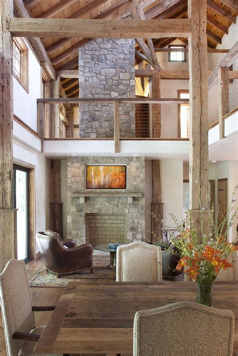 exceptional Stone And Wood Fireplace #4: Stone-Fireplace-Two-Story-High-Ceiling-Lodge-Top-Kat-Photo.jpg