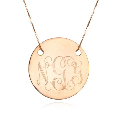 rose gold ginette ny large disc monogram necklace rose gold in gold