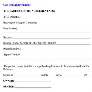Car Hire Agreement Format India Car Rental Agreement Templates 6 Free Documents In Pdf