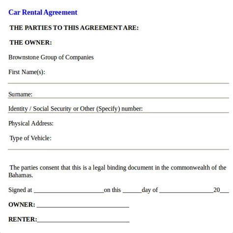 car rental agreement template car rental agreement templates 6 free documents in pdf