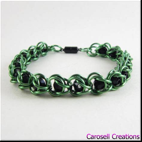 captured bead chainmaille captured bead chain maille bracelet green black by