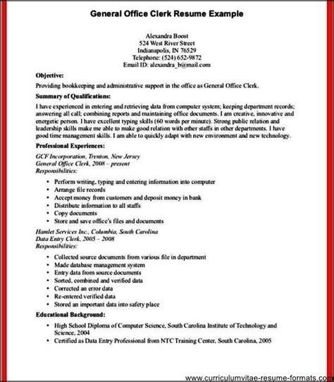 office clerk resume free sles exles format
