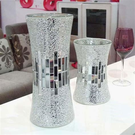 Mirror Vases by Silver Mirrored Mosaic Glass Vase Buy Mosaic Glass Vase