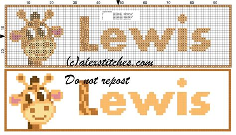 name pattern for cross stitch lewis name with giraffe cross stitch pattern free cross