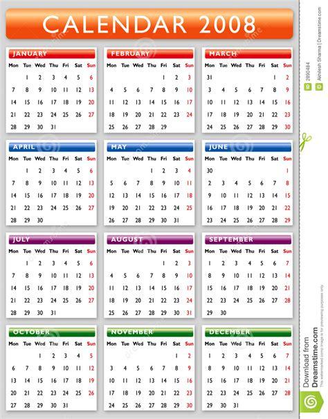 Calendrier De 2008 Calendar 2008 Stock Images Image 2890484