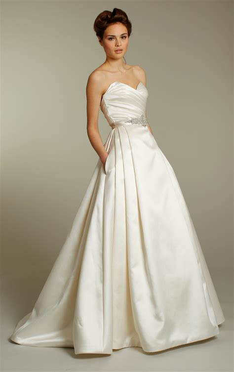A Line Wedding Dresses by Classic Ivory Silk A Line Wedding Dress With Embellished