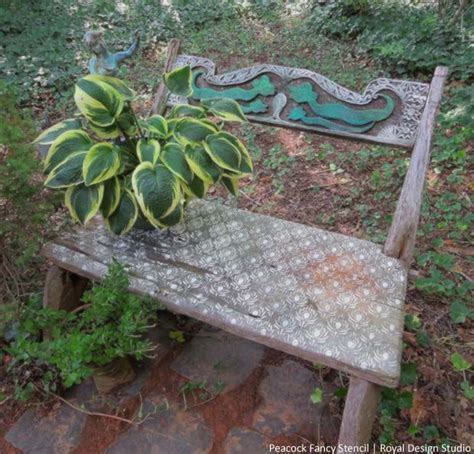 diy outdoor chalk paint stencil an outdoor bench with chalk paint gardens