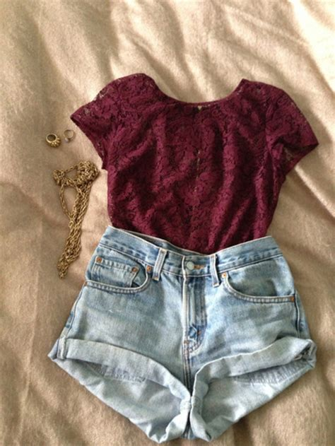 Hollister Lace Up Shirt With Lace Sleeve Maroon blouse lace burgundy burgundy shorts swag