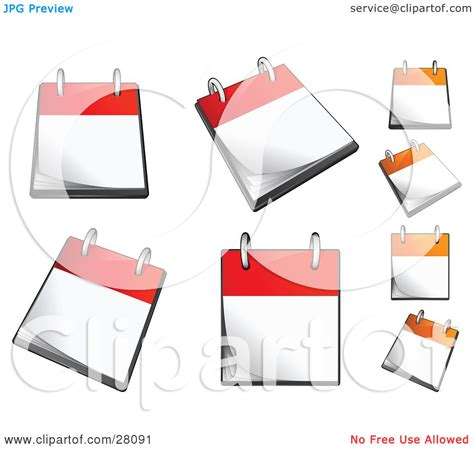 blank daily flip calendar clipart illustration of a set of orange and red flip page