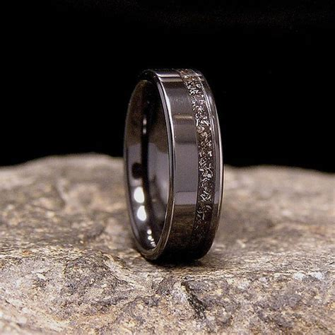meteorite shavings offset inlay black zirconium wedding