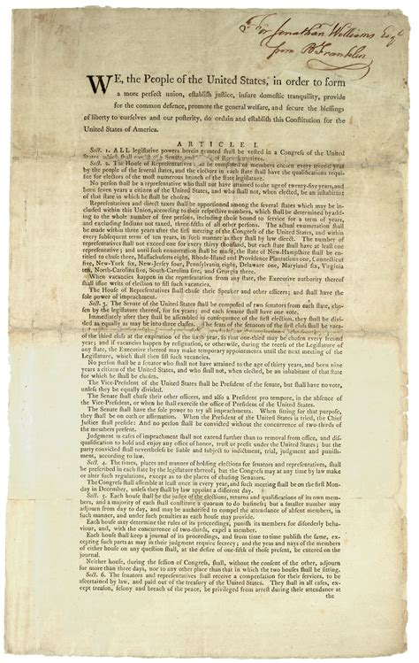 full printable us constitution two versions of the preamble to the constitution 1787