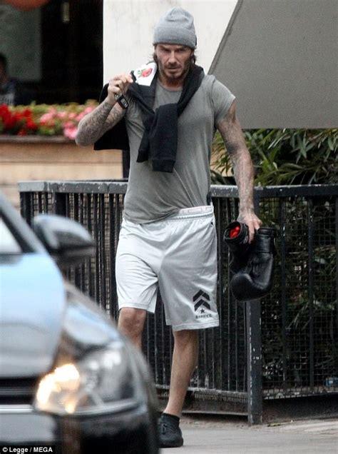 david beckham tattoo london david beckham reveals buff body as he leaves boxing class