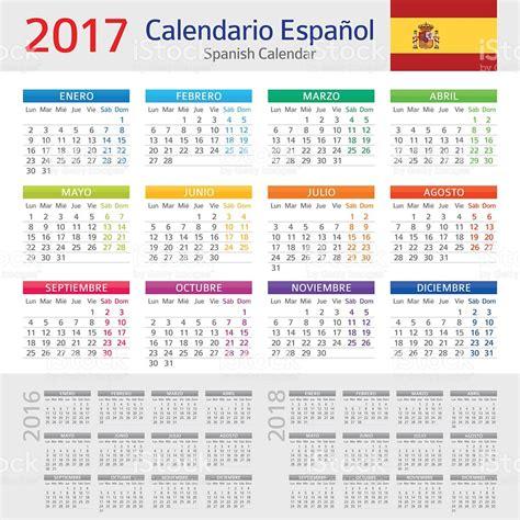 Calendario En Espanol Espanhol Calend 225 2017calendario Espanhol 2017 Vetor E