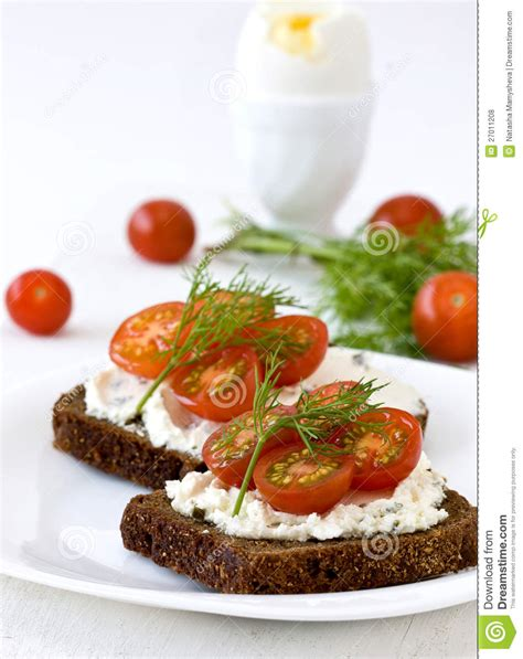 Cottage Cheese And Tomato by Sandwich Of Cottage Cheese And Tomato Royalty Free Stock