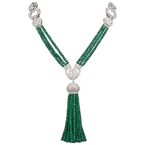 Kalung Square Gem Tassel Necklace unique green emerald and tassel necklace for sale