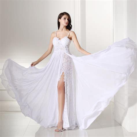 trim for wedding dresses backles lace split chiffon wedding dress uniqistic