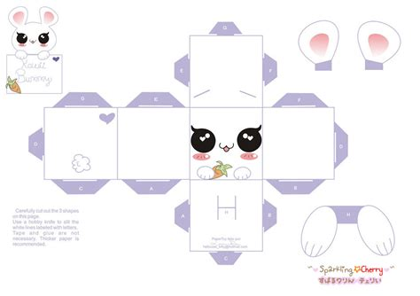 Paper Craft Templates Free - kawaii bunny papercraft website free