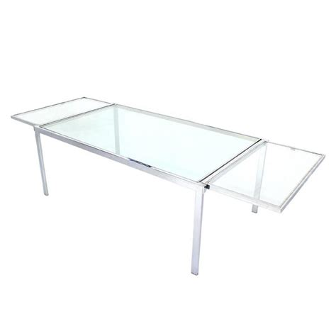 Drop Leaf Glass Dining Table Chrome Glass Dining Conference Table With Drop Leaf Extensions Self Containing For Sale At 1stdibs