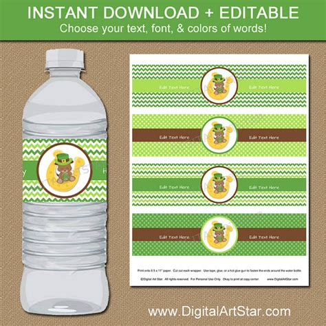 drink bottle label template st patricks day water bottle labels with puppy