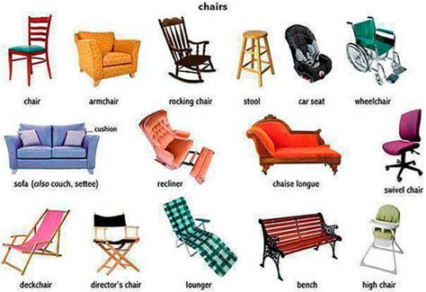 Chair Names - names of furniture and household items in
