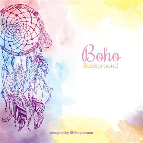ethnic background ethnic background with watercolor feathers vector free