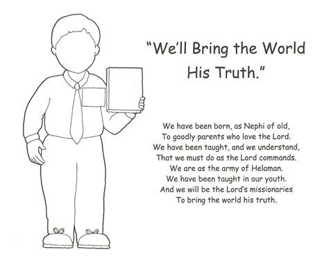 boy missionary coloring page happy clean living primary 3 lesson 25