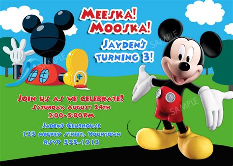 mickey mouse clubhouse invitation for birthday party ebay