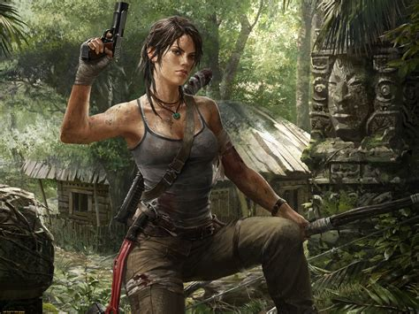 video games lara croft tomb raider gun wallpapers hd