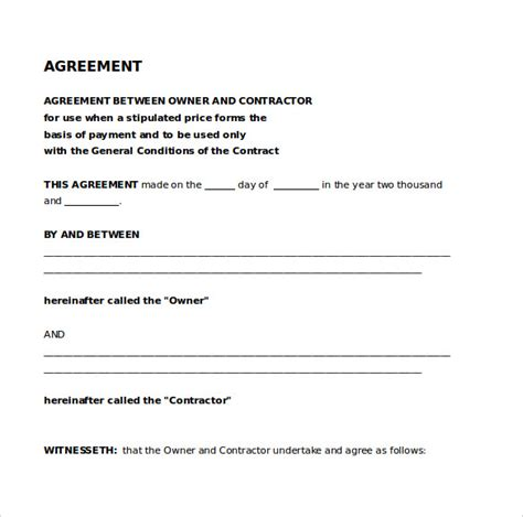 free agreement templates agreement template 9 free word pdf documents
