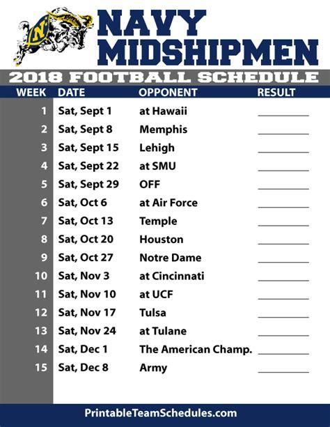 printable team schedule 2018 printable navy football schedule