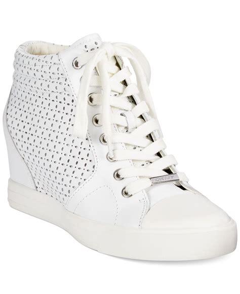 white wedge sneakers dkny wedge sneakers in white lyst