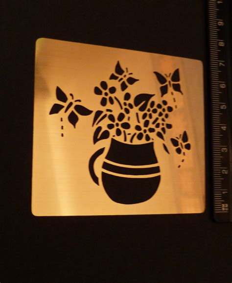 brass embossing templates brass stencil oblong vase jug flower butterfly emboss used